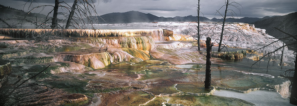Western panorama page for Minerva terrace yellowstone